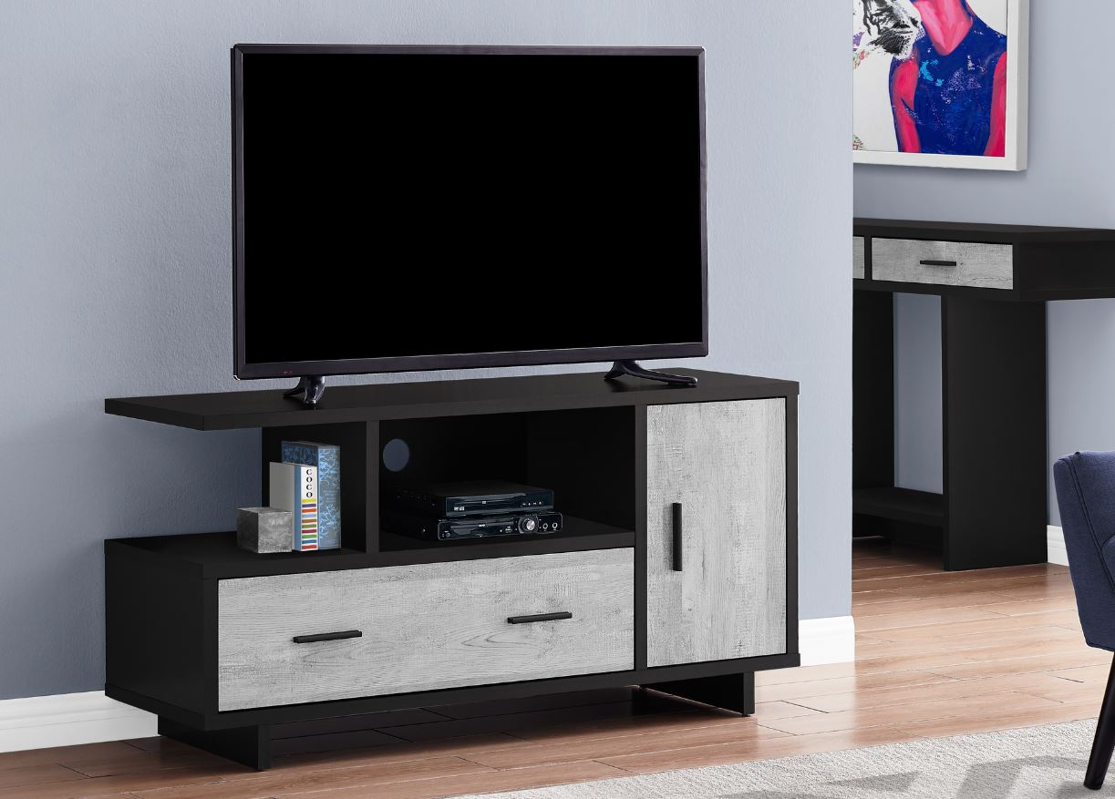"48""L TV Stand w/ Storage in Black / Grey Reclaimed Wood-Look - Monarch Specialties I-2804"