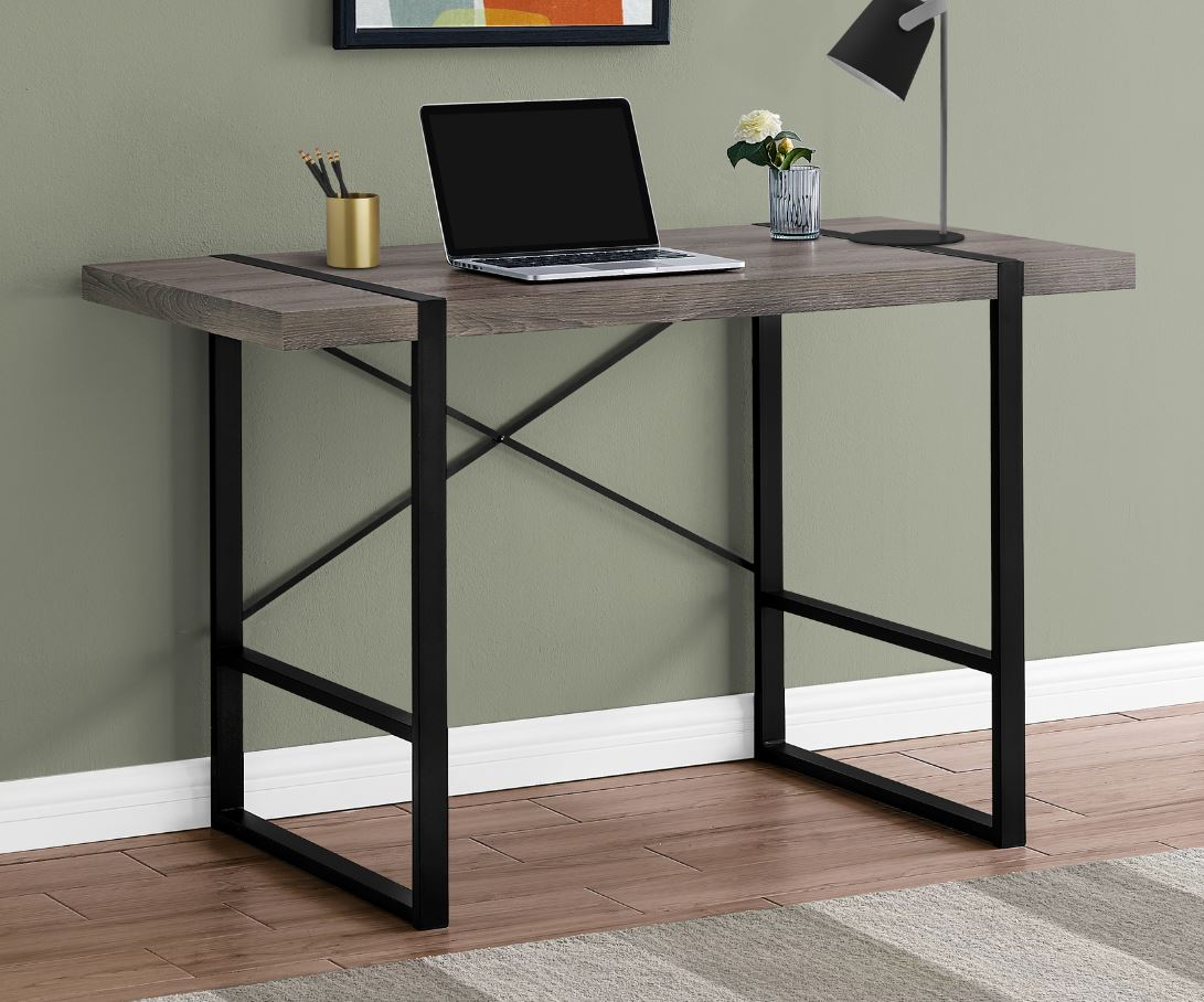 "48"" Computer Desk in Dark Taupe / Black Metal - Monarch Specialties I-7310"