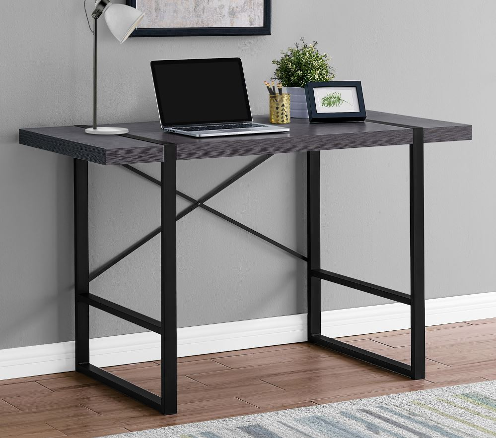 "48"" Computer Desk in Grey / Black Metal - Monarch Specialties I-7312"