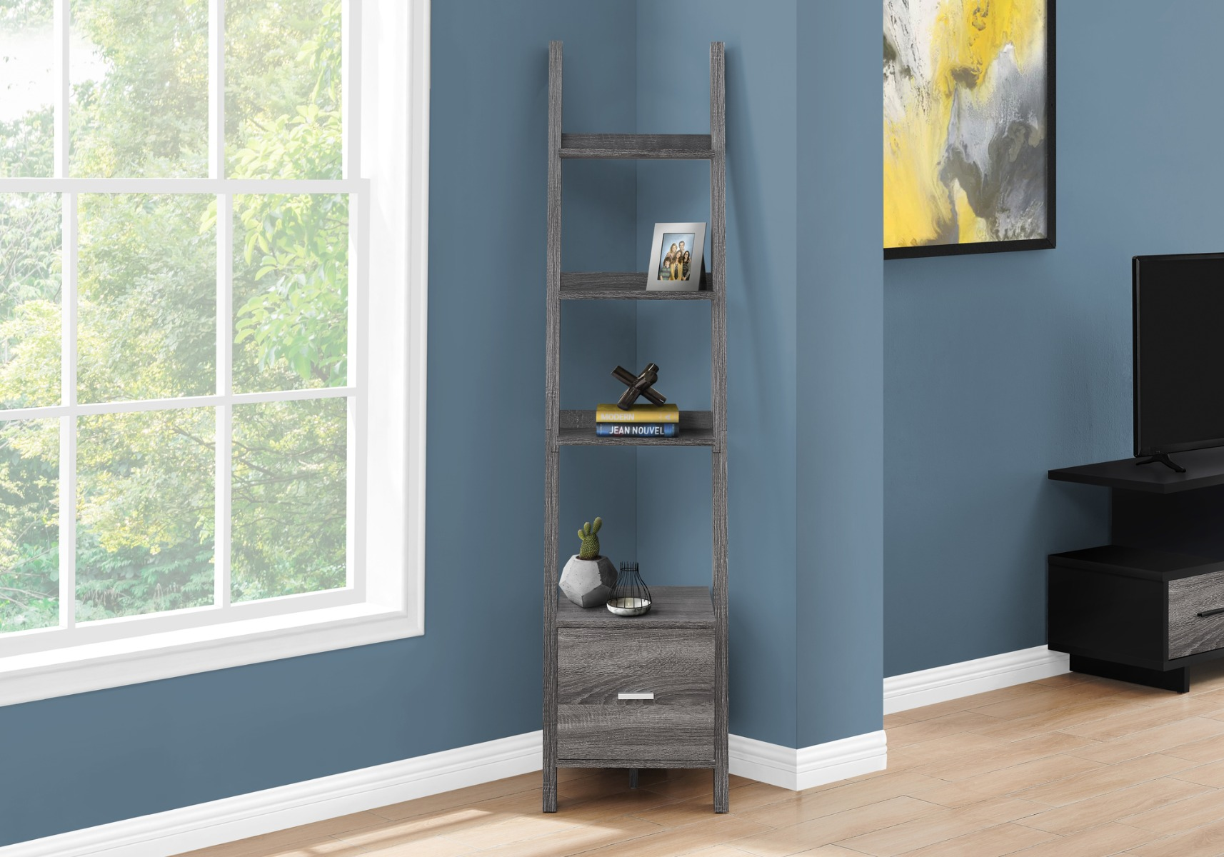 "69""H Grey Bookcase / Etagere w/ Storage Drawer - Monarch Specialties I-2768"