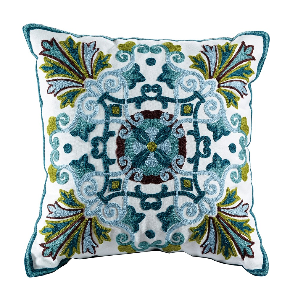 Emerald Embroidered Cotton Throw Pillow - Elight Home 70002