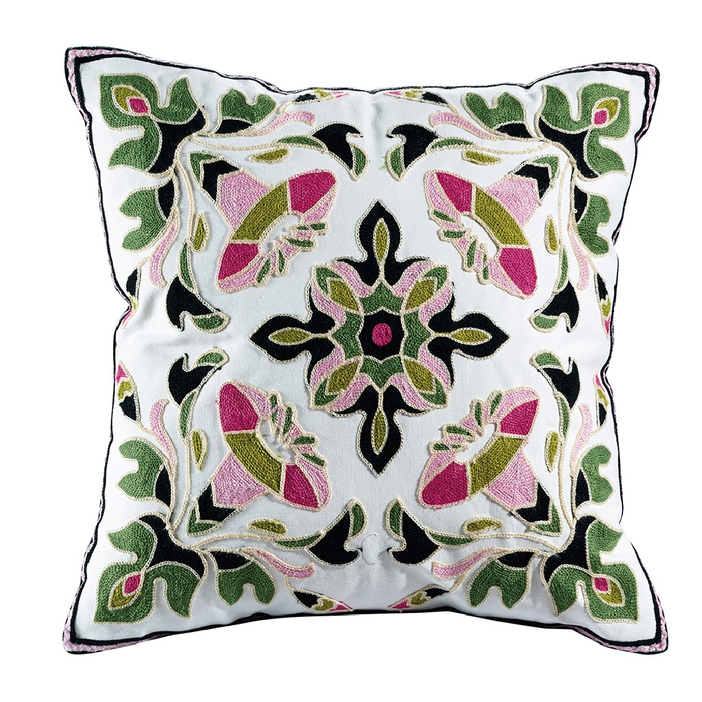 """Ava Embroidered Cotton 18"""" Throw Pillow - Elight Home 70006"""