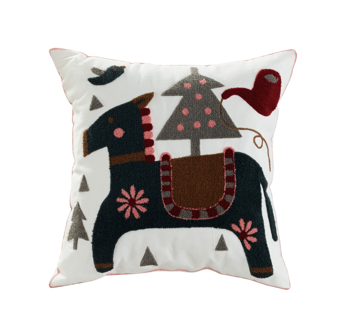 Colt Embroidered Cotton Throw Pillow - Elight Home 70018