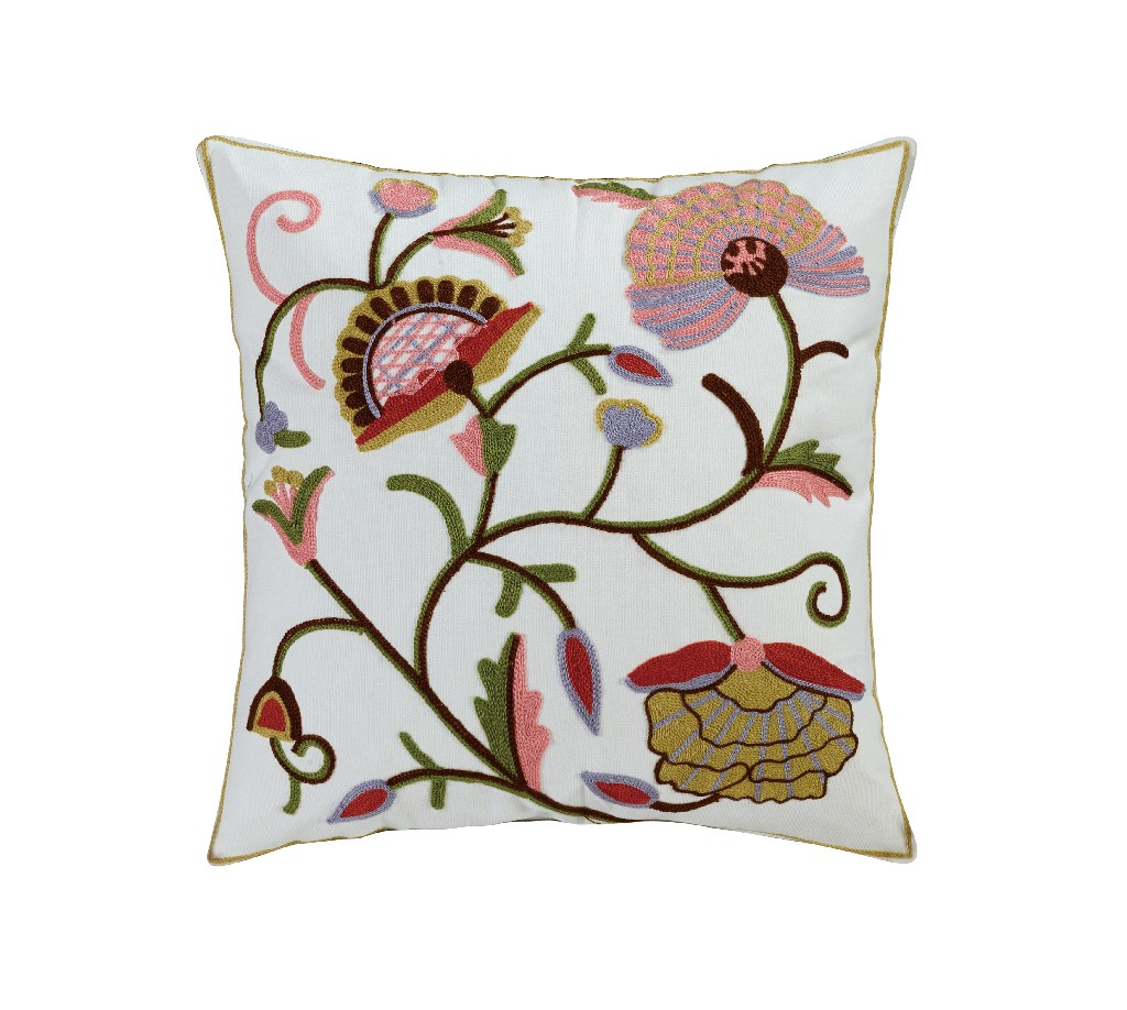 Aya Embroidered Cotton Throw Pillow - Elight Home 70022