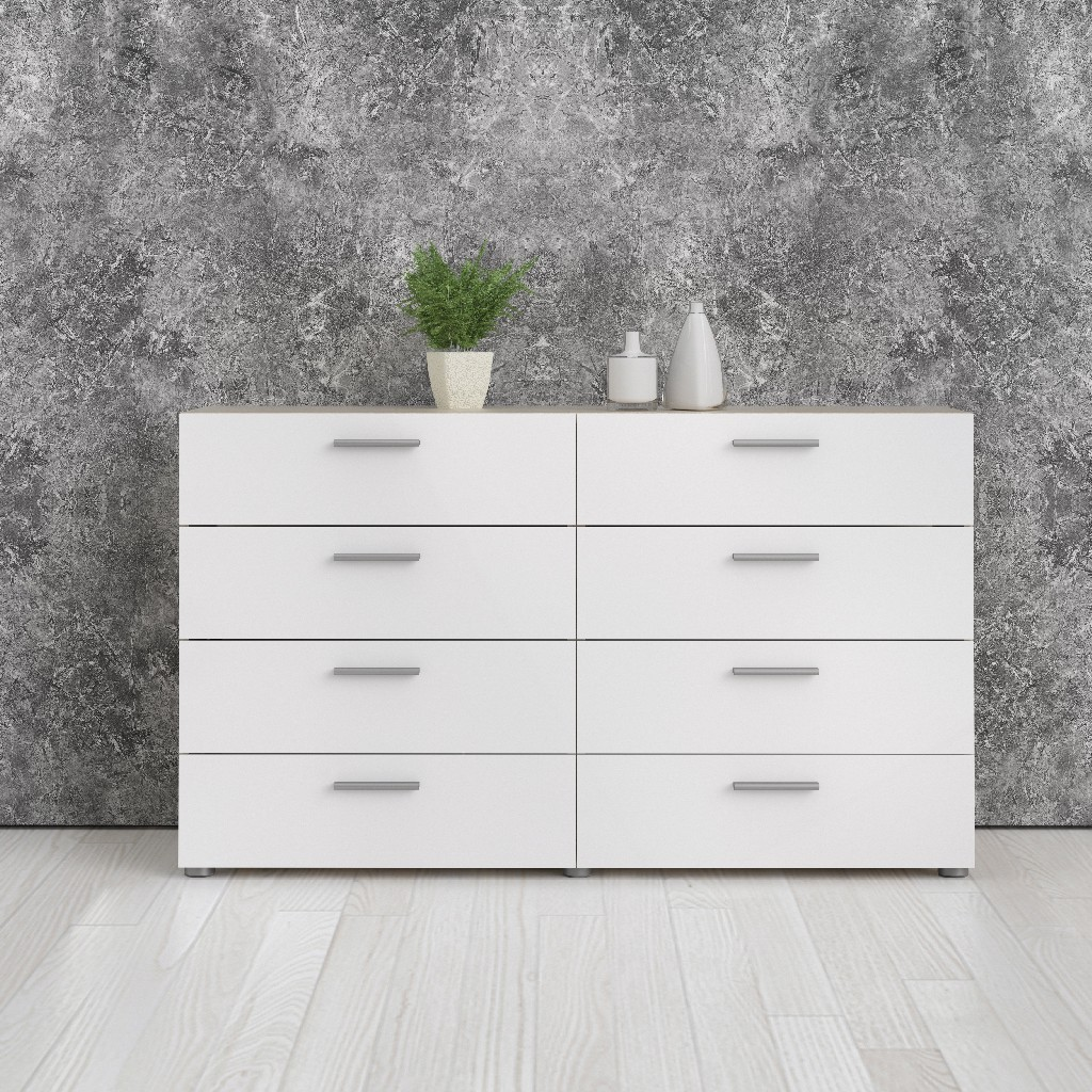 Austin 8 Drawer Double Dresser in Oak Structure and White High Gloss - Tvilum 70073AKUU