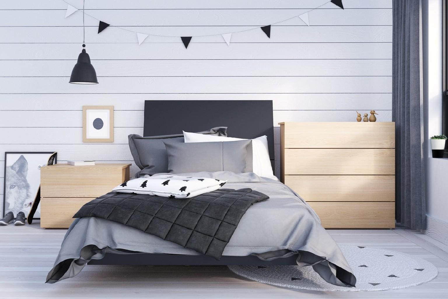 Nexera Twin Bedroom Set Black Maple
