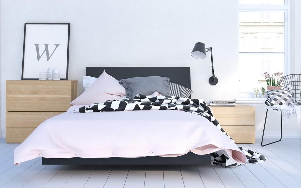 Karla Full Bedroom Set Black Natural Maple
