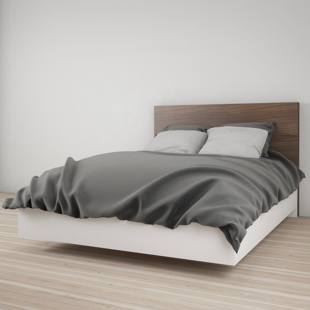 2 Piece Full Size Bedroom Set In White and Walnut - Nexera 400894