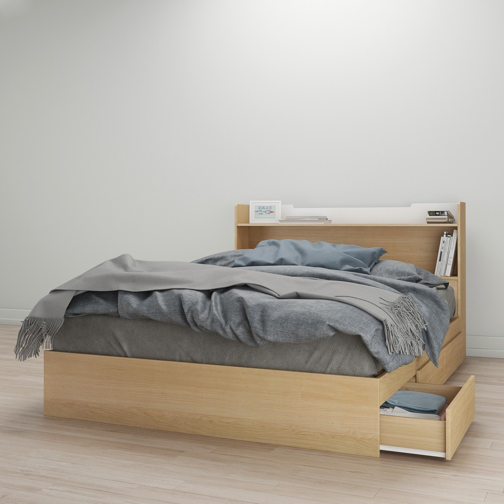 2 Piece Queen Size Bedroom Set In Natural Maple & White - Nexera 400947