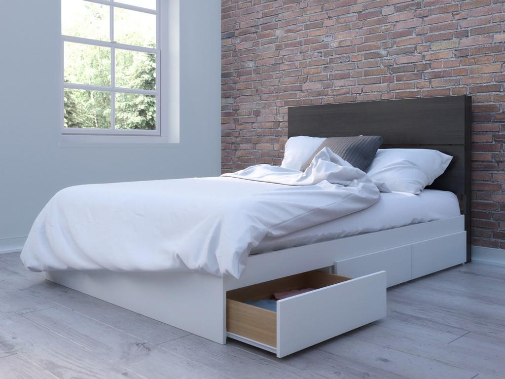 2 Piece Full Size Bedroom Set In White and Ebony - Nexera 400995