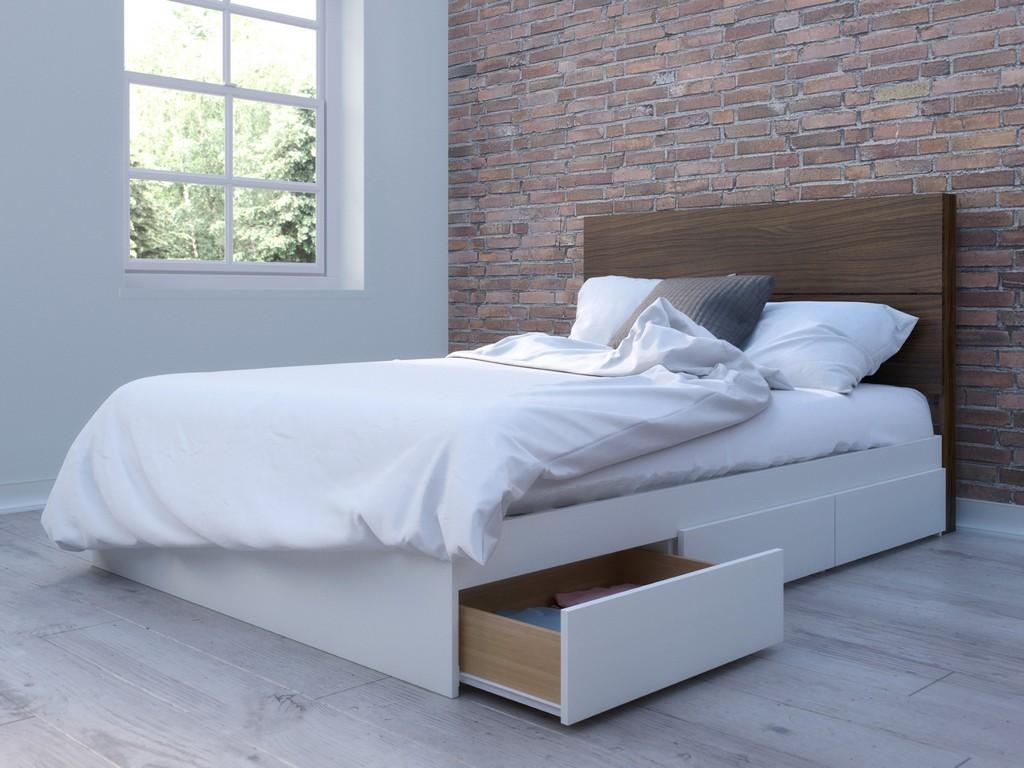 2 Piece Full Bedroom Set In White and Walnut - Nexera 402001