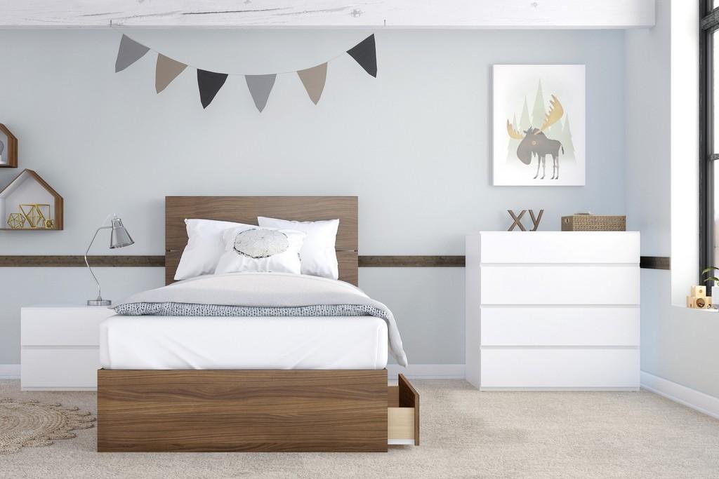 Hera Twin Bedroom Set Walnut White