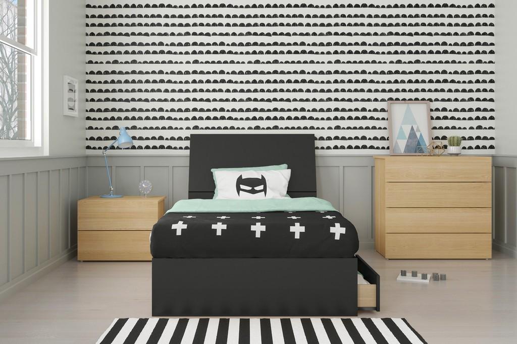 Vila Twin Bedroom Set Natural Maple Black
