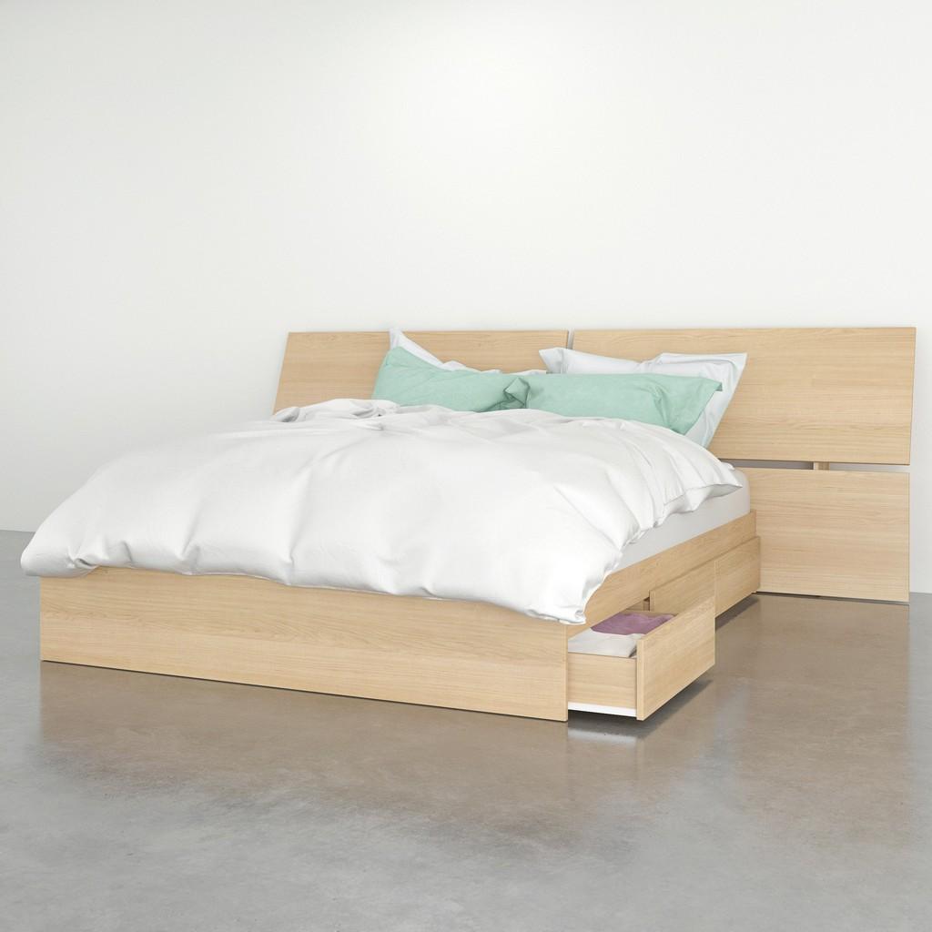 2 Piece Queen Size Bedroom Set In Natural Maple - Nexera 402257