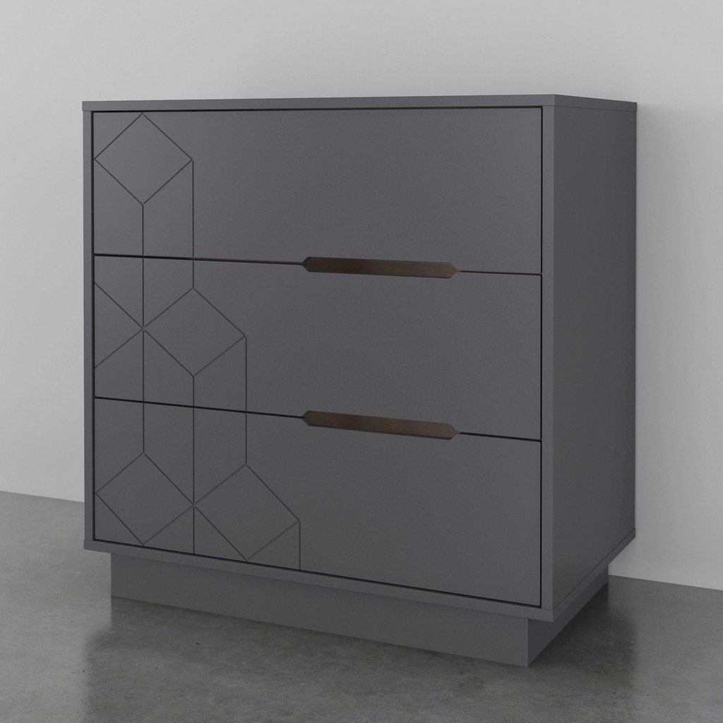 Image of 3-Drawer Chest In Charcoal Grey - Nexera 420349