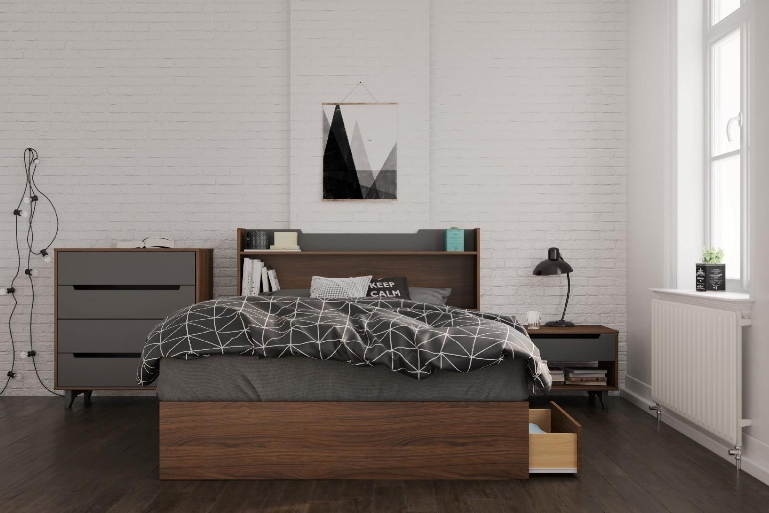 Cartel Bedroom Set Walnut Charcoal