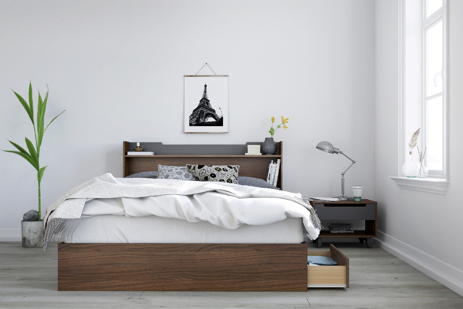 Nexera Cartel Queen Bedroom Set Walnut Charcoal