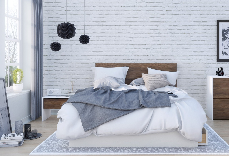 Queen Bedroom Set Walnut White