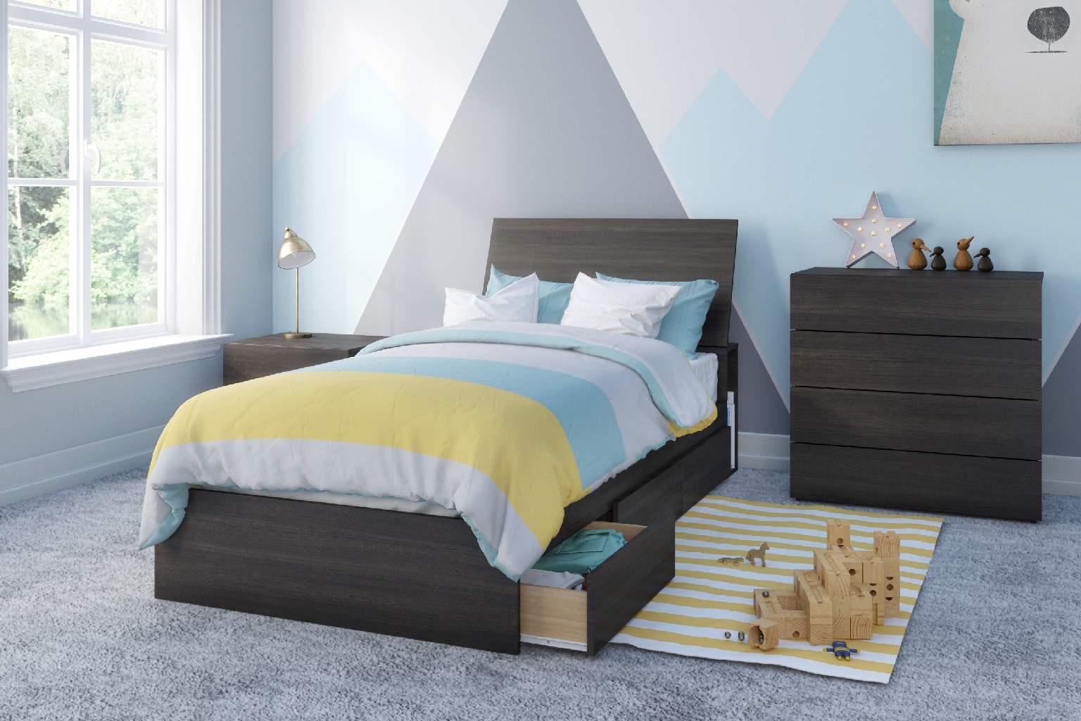Nexera Equinox Twin Bedroom Set Ebony