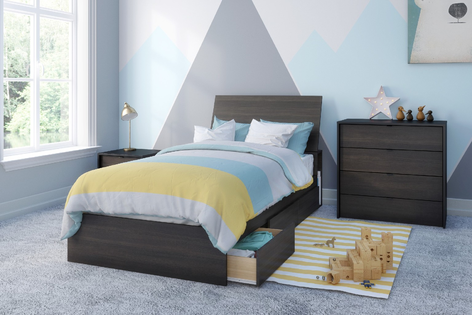 Nexera Celeste Twin Bedroom Set Ebony Black