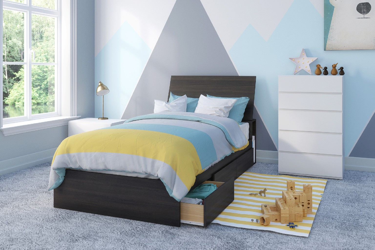 Nexera Iris Twin Bedroom Set Ebony White