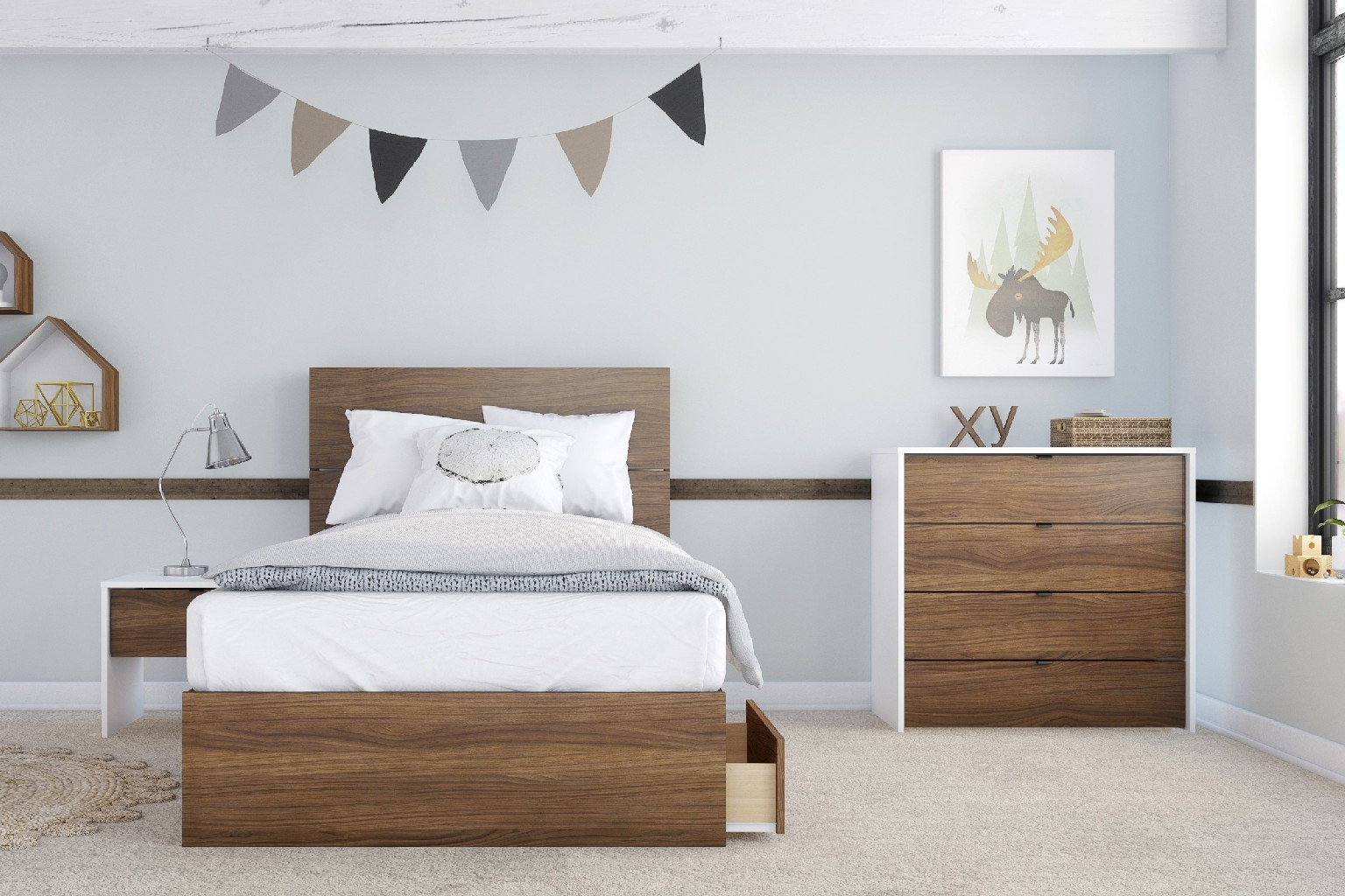 Nexera Twin Bedroom Set Walnut White