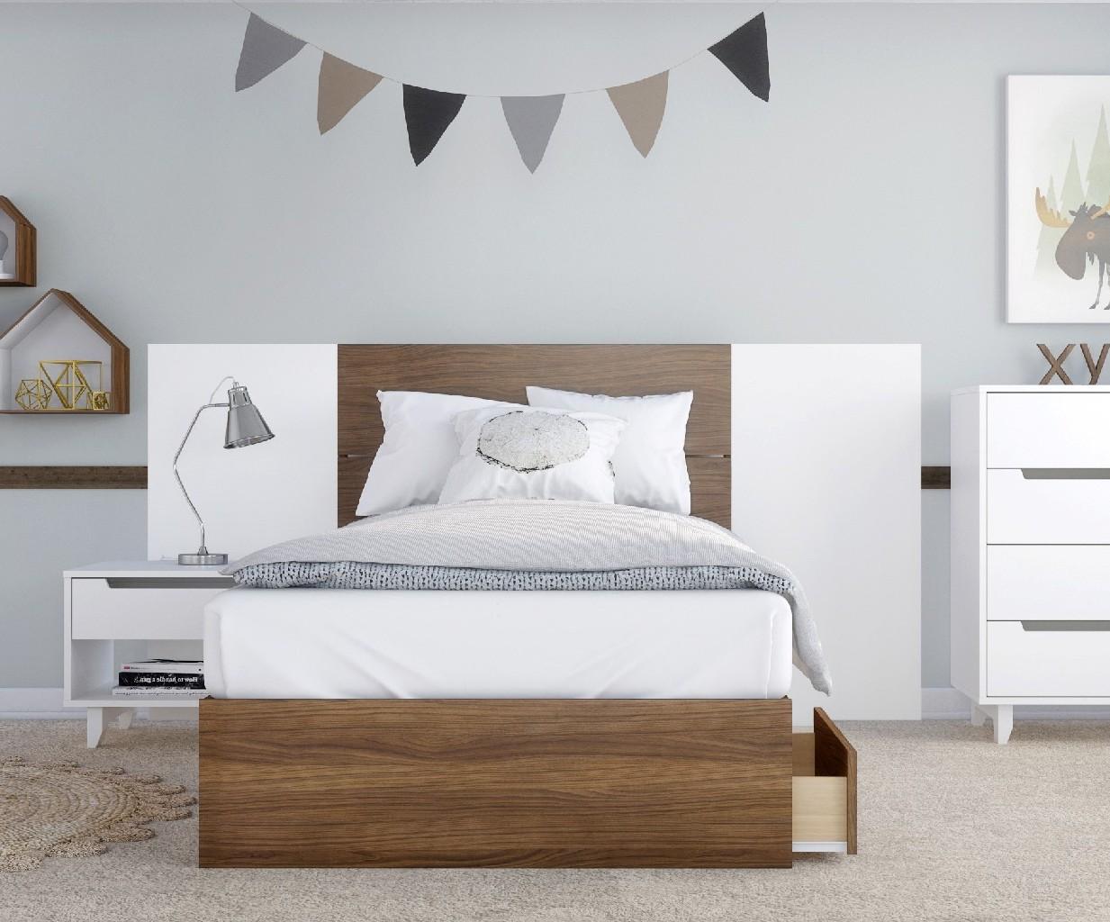 Nexera Furniture Twin Bedroom Set Walnut White Photo