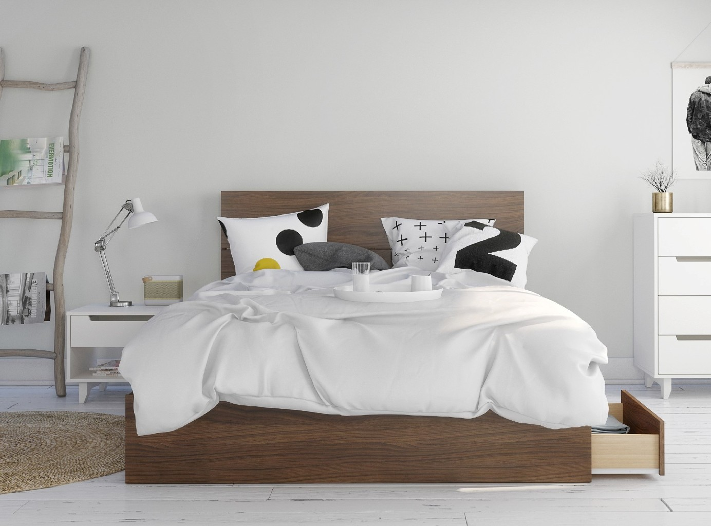 Nexera Queen Bedroom Set Walnut White