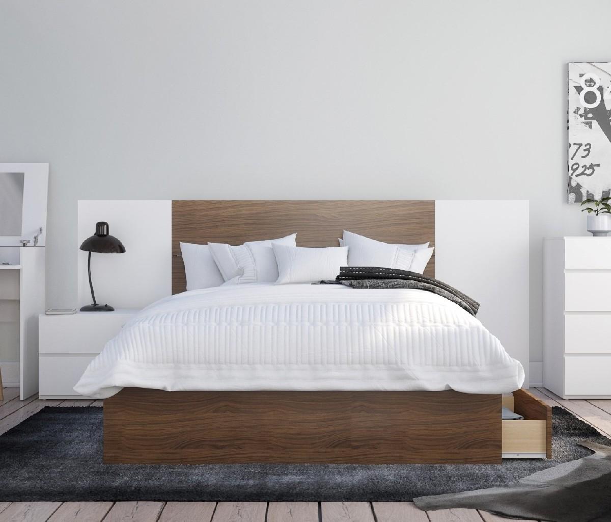 Nexera Bedroom Set Walnut White