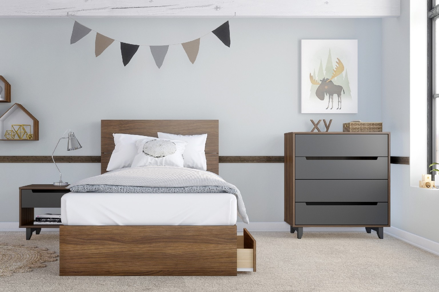Nexera Twin Bedroom Set Walnut Charcoal