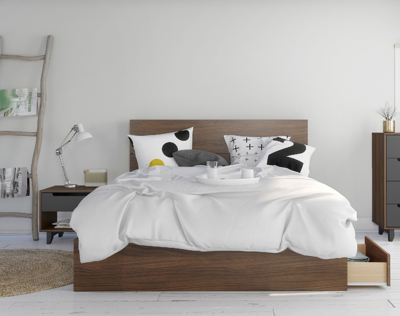 Nexera Queen Bedroom Set Walnut Charcoal