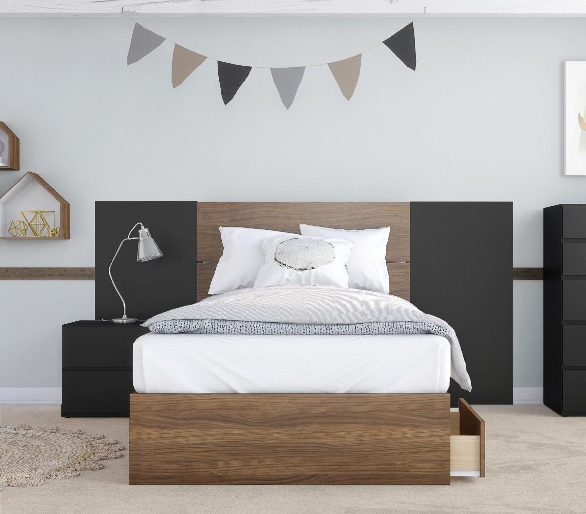 Nexera Furniture Twin Bedroom Set Walnut Black Photo