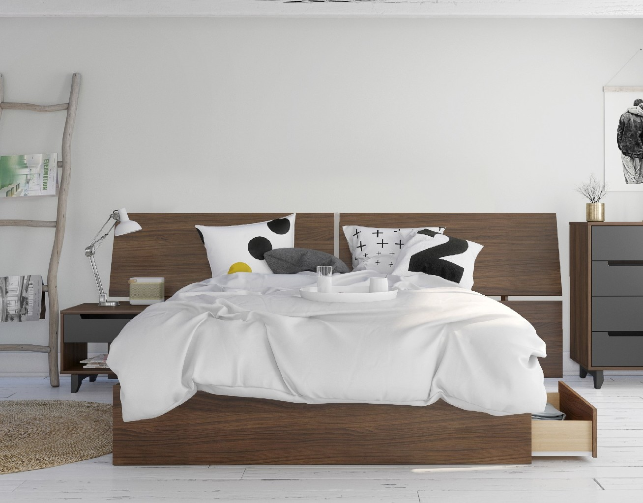 Nexera Furniture Queen Bedroom Set Walnut Charcoal Photo
