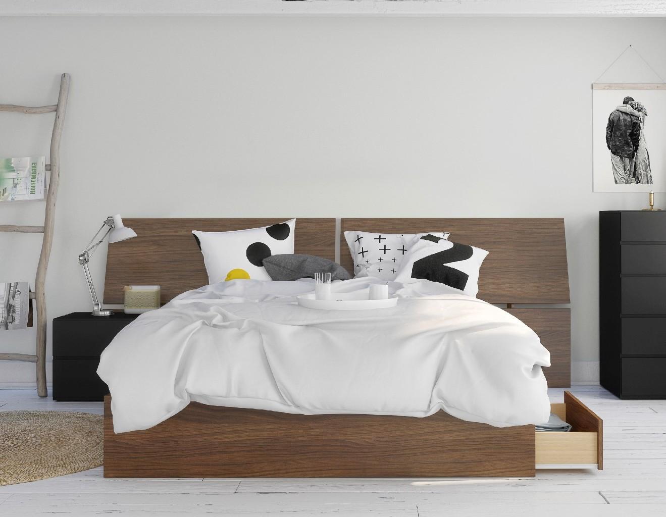 Nexera Furniture Queen Bedroom Set Walnut Black Photo
