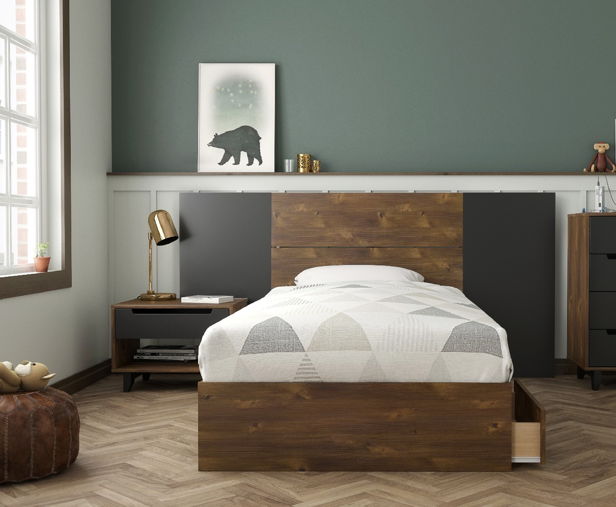 Nexera Furniture Twin Bedroom Set Black Photo