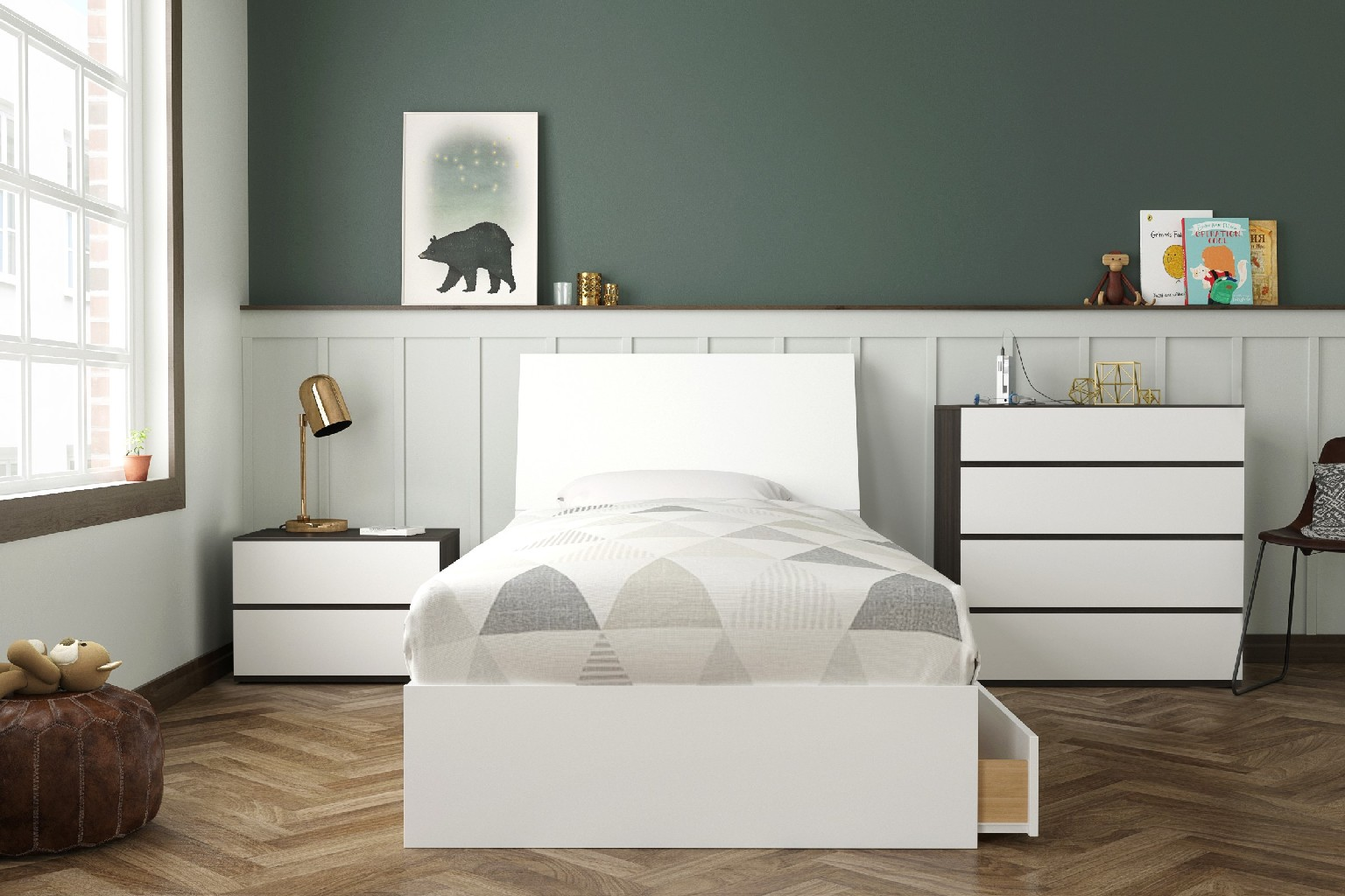 Twin Bedroom Set Ebony White