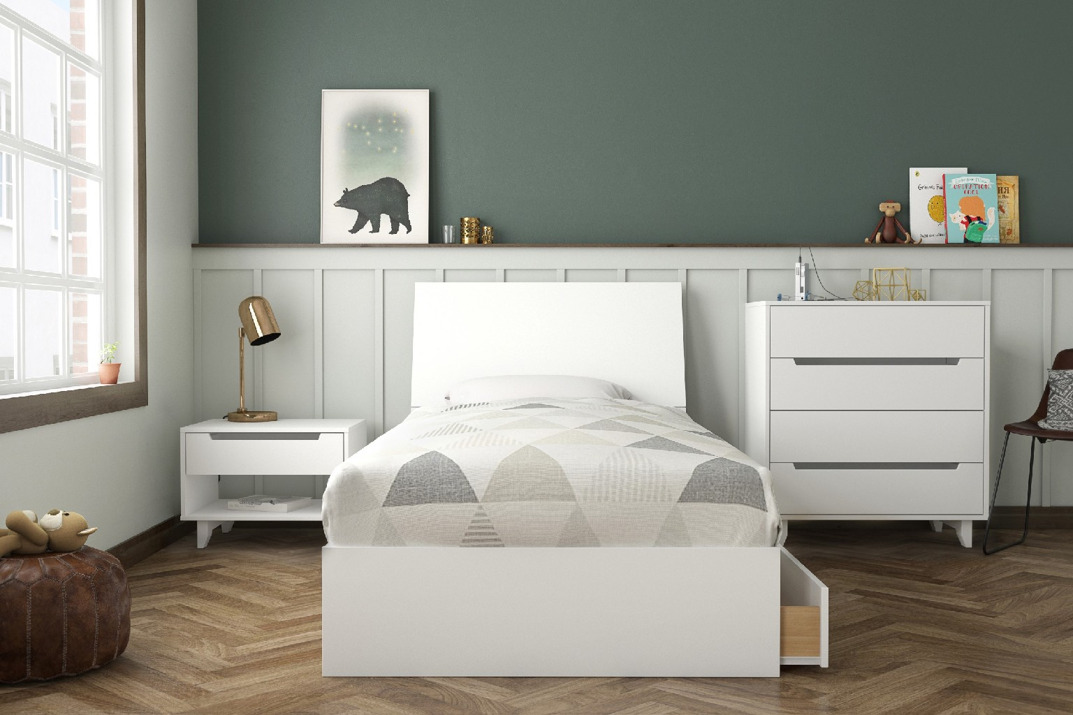Nexera Divine Twin Bedroom Set White