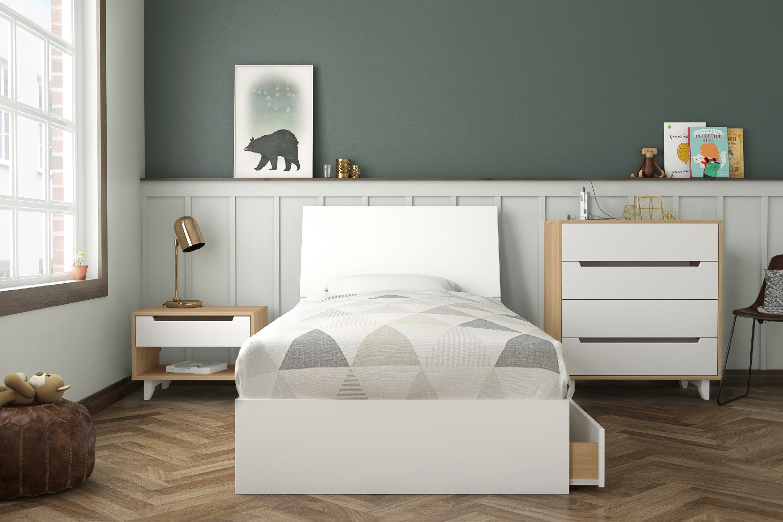 Twin Bedroom Set Maple White