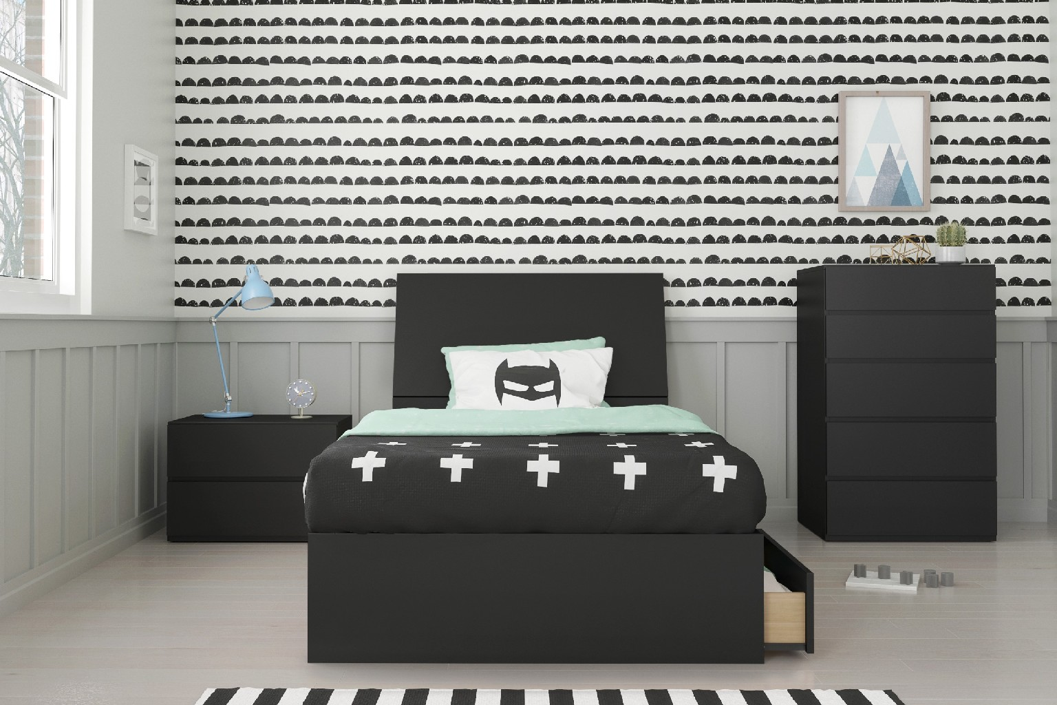 Nexera Epik Twin Bedroom Set Black