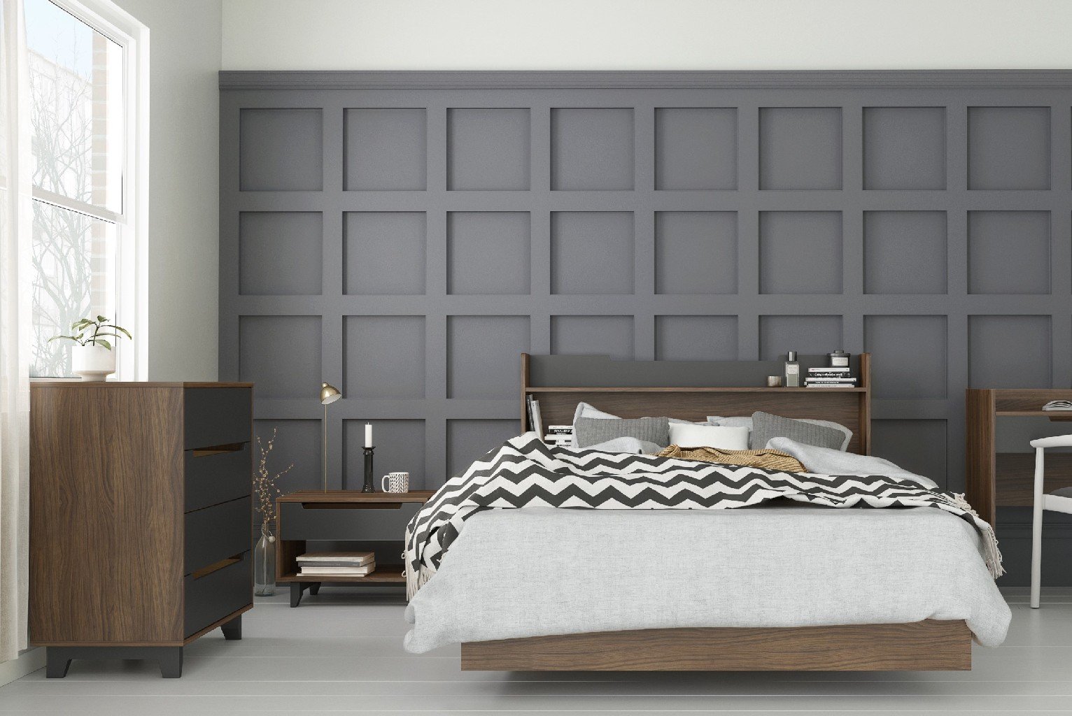 Nexera Bedroom Set Walnut Charcoal