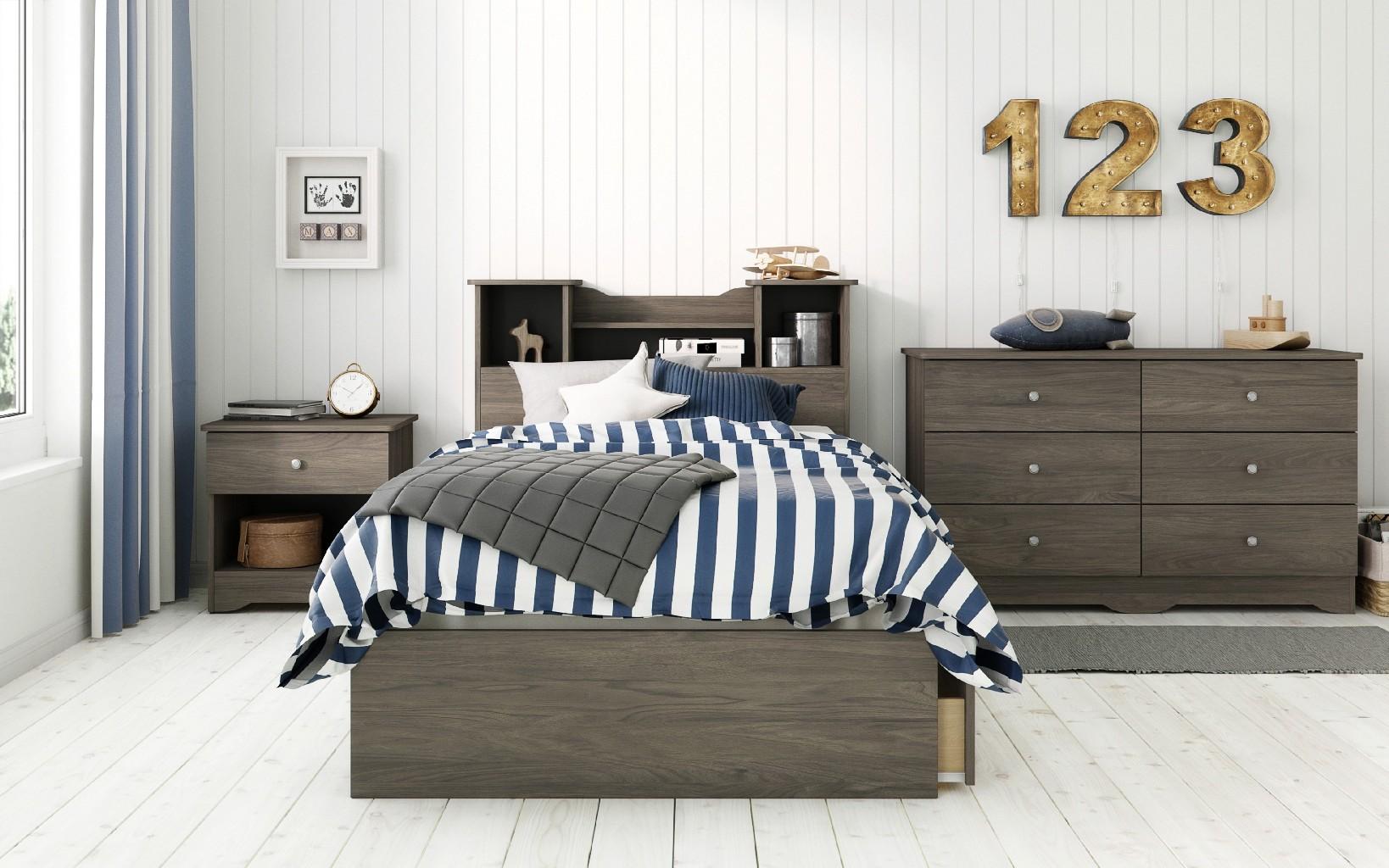 Nexera Furniture Twin Bedroom Set Bark Photo