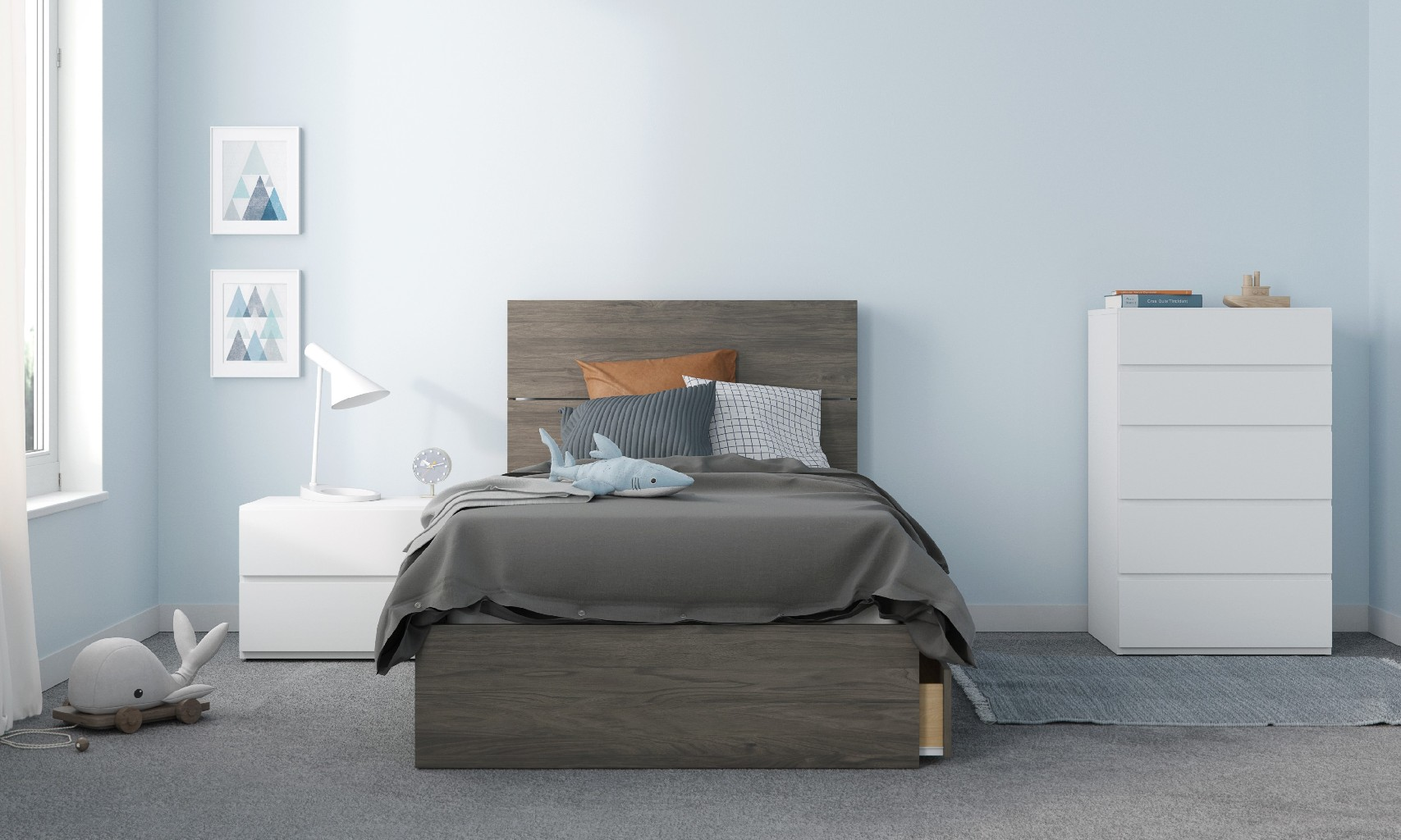 Nexera Twin Bedroom Set Bark White