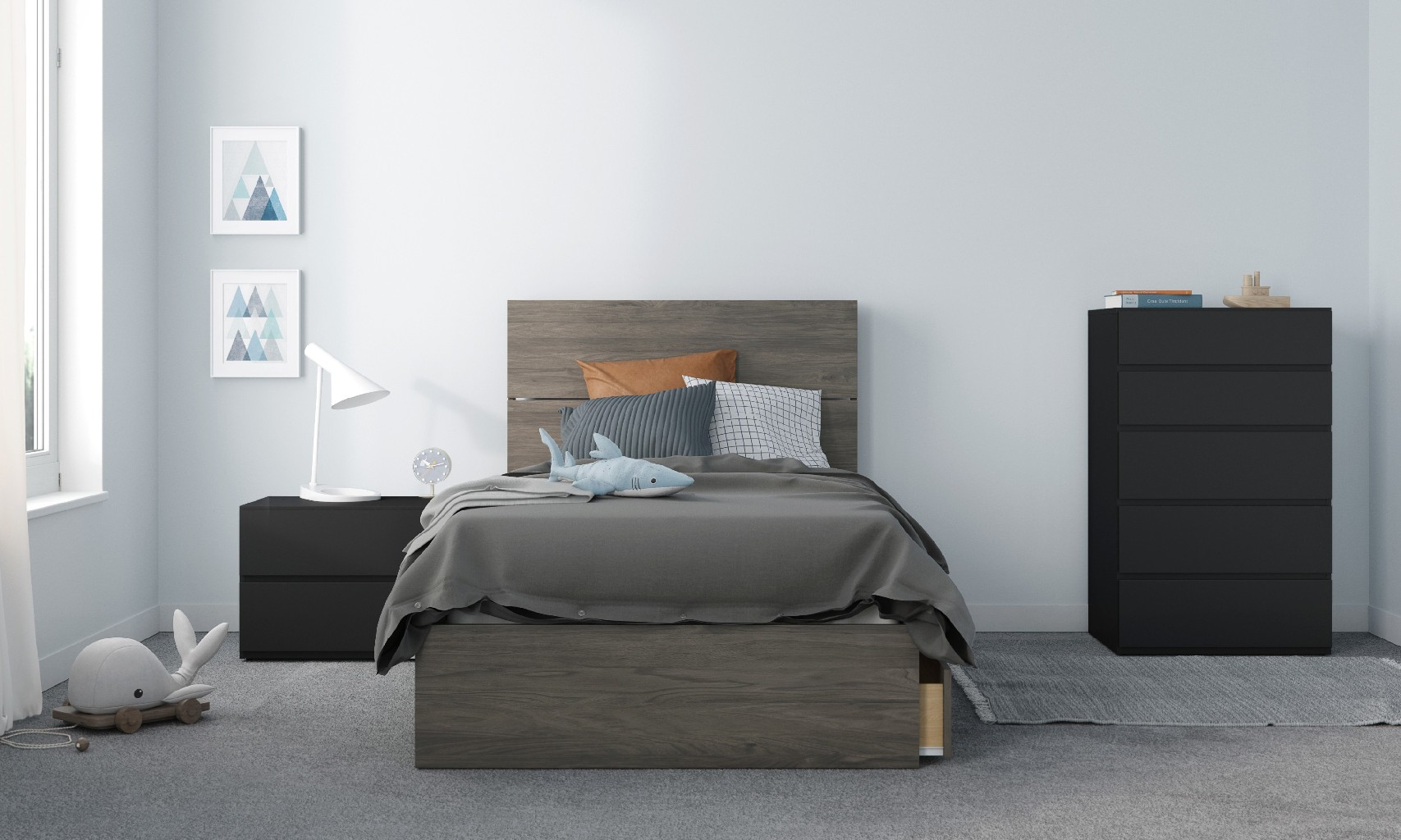 Nexera Twin Bedroom Set Bark Black