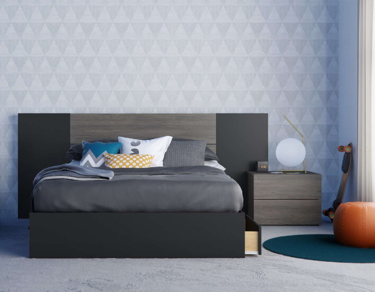 Nexera Bedroom Set Bark Black
