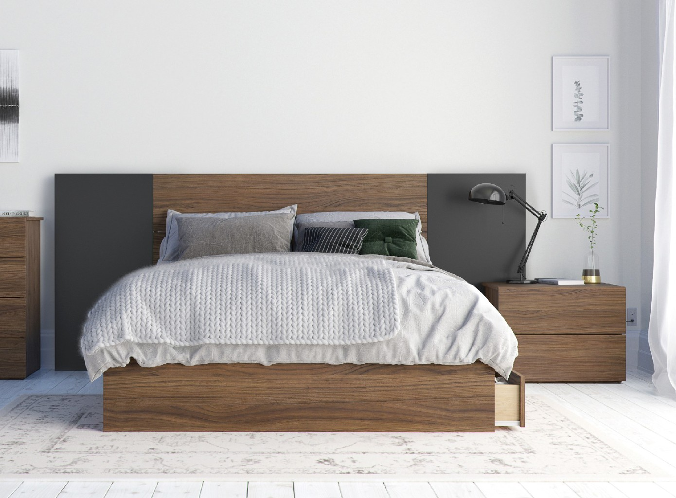 Nexera Bedroom Set Walnut Black