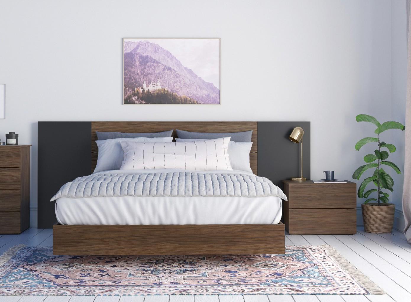 Nexera Queen Bedroom Set Walnut Black