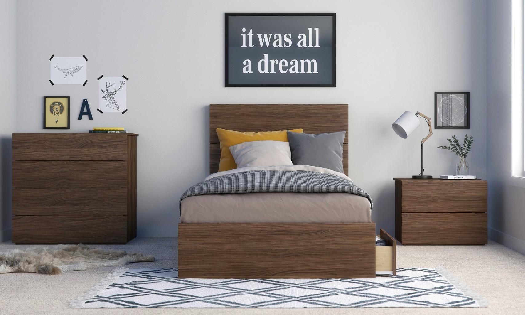 Nexera Twin Bedroom Set Walnut