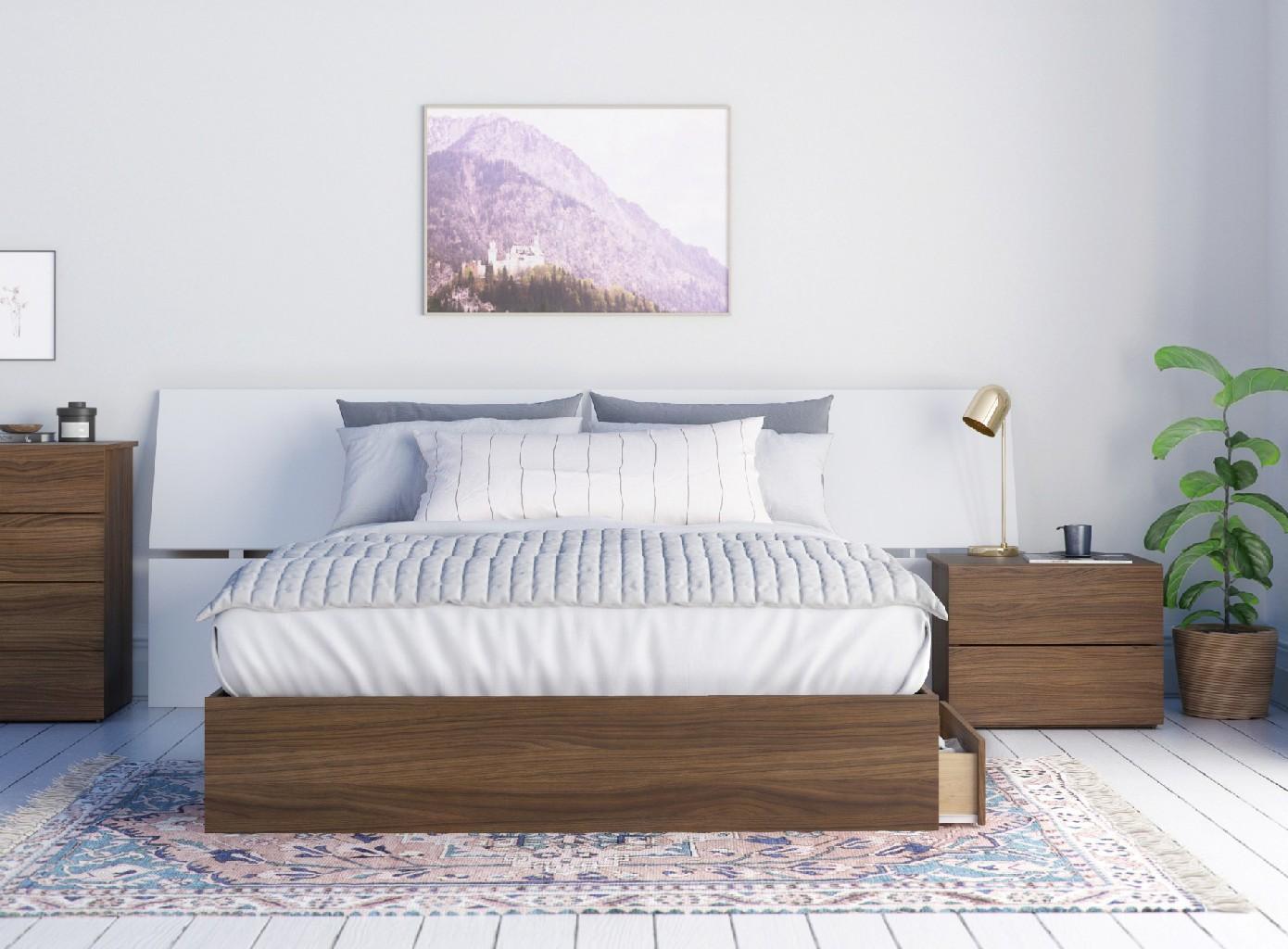 Nexera Furniture Queen Bedroom Set Walnut White Photo