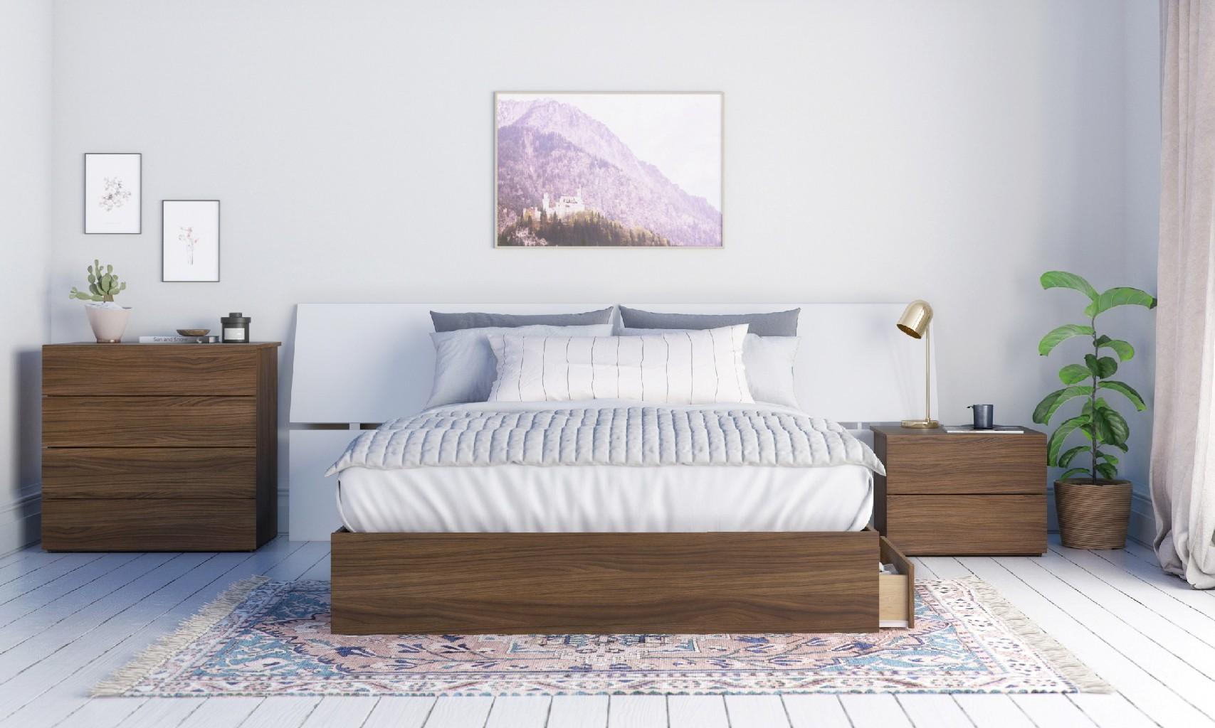 Nexera Queen Bedroom Set Walnut White