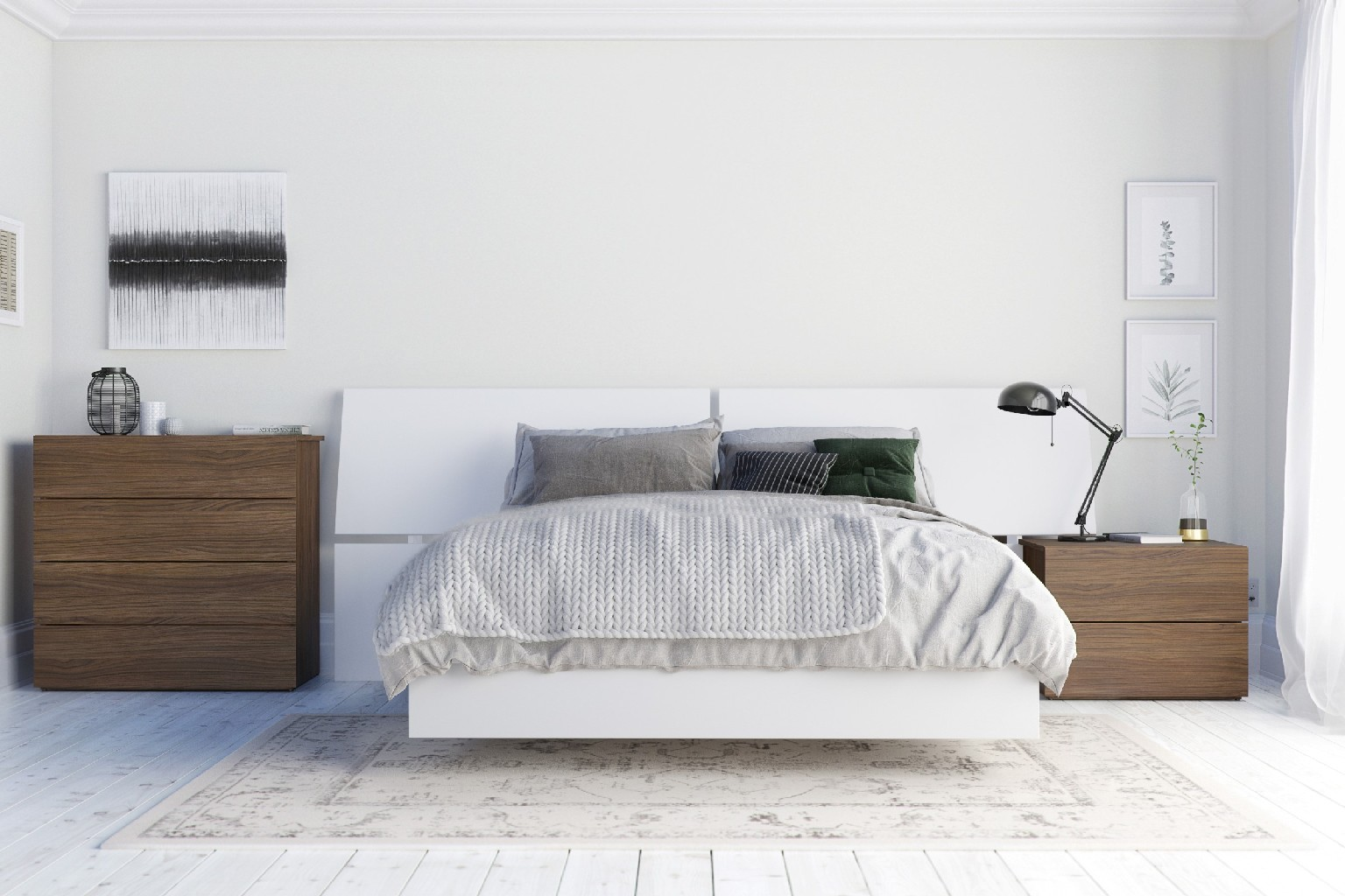 Nexera Furniture Bedroom Set Walnut White Photo